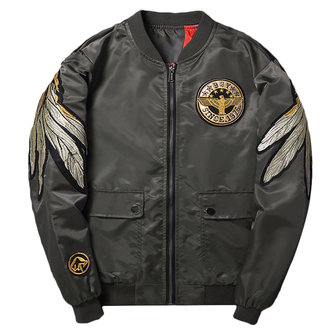 Mens Gold Wing Embroidery Bomber Flight Jakcet Baseball Coat