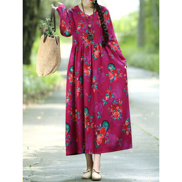 Floral Elastic Waist Long Sleeve Maxi Dress