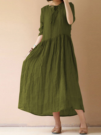 Women Vintage Half Sleeve Solid Swing Maxi Dress