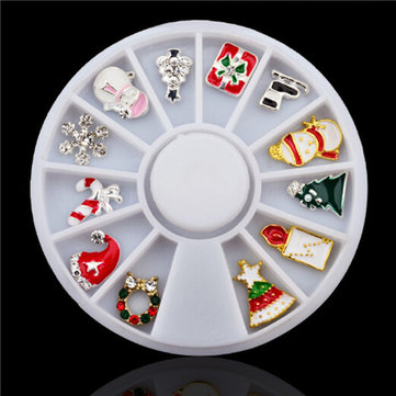 Alloy Christmas Nail Art Wheel Hat Snowman Tree Tips Stickers Rhinestones DIY Decorations