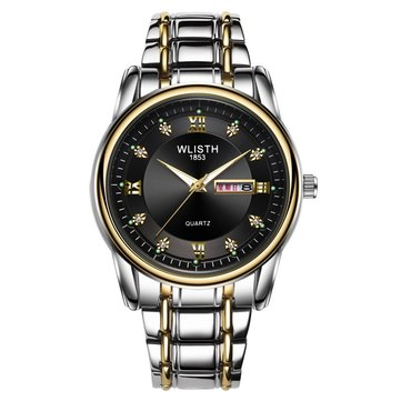 WLISTH Men Full Steel Belt Quartz Watch Business Luminous Waterproof Calendar Casual Wristwatch