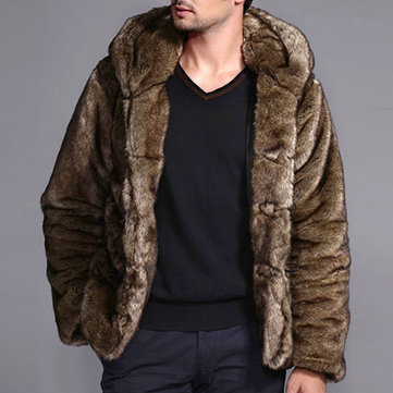 Mens Faux Fur Coats Winter Thick Warm Stylish Hooded Furry Jacket