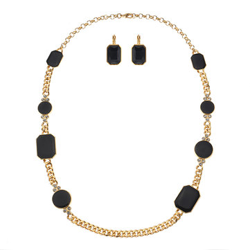 JASSY® Luxury Gold Precious Black Gemstone Jewelry Set Geometric Earrings Chain Necklace for Women
