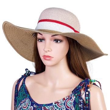 Women Outdoor Multicolor Beach Sunshade Straw Hat