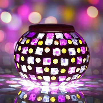 Solar Güç Kırmızı Mavi Mozaik Renkli LED Lamba Bahçe Su Geçirmez Cam Top Dekorasyon Lamba