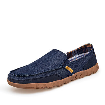 Men Canvas Lightweight Casual Soft Sole Walking Loafers