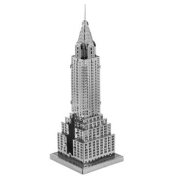 Bricolaje acero inoxidable 3d rompecabezas Aipin modelo montado color plateado edificio Chrysler