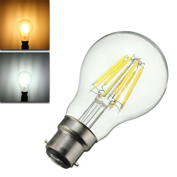 Dimmable A60 B22 8W Pure White Warm White COB Glass Material Retro Light Lamp Bulb AC220V