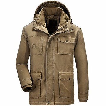 Winter Velvet Plus Espessura morna Destacável Hood Cotton Men Jacket Parkas