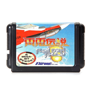 16 Bit Video Game Cartridges Black Card 1 Raiden Trad for Sega MD2 Game Console