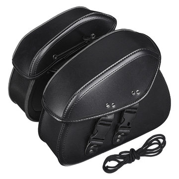 Pair Black PU Leather Motorcycle Universal Saddlebags Rider Motorbike Panniers Luggage