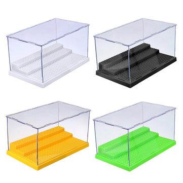 Display Case/Box Dustproof ShowCase Gray Base For Blocks Acrylic Plastic Display Box Case Model Toy