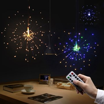 Battery Operated 200LED 8 Modes Hanging Starburst Fairy String Sliver Light with 13Keys Remote DC6V