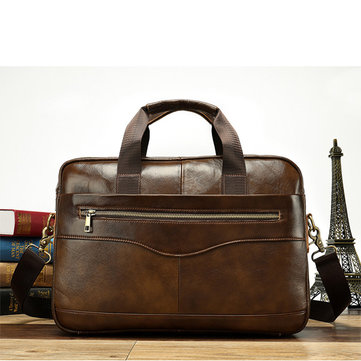 Genuine Leather Business Laptop Bag Briefcase Shoulder Bag