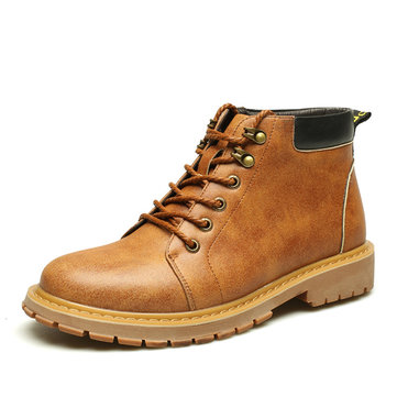 High Top Men Shoes Casual Leather Fashion Lace Up Outdoor Flat Boots