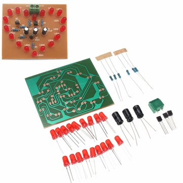 DIY LED Electronic Kit LED Flashing Light Heart Circulation Flashing Light 18 Red LED Heart Light Kit