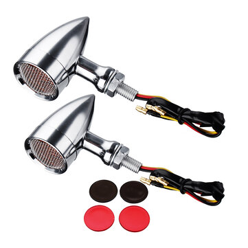 10mm Bullet Grill LED Turn Signal Indicator Lights Lamp For Harley Chopper Bobber