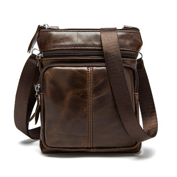 Men Small Genuine Leather Shoulder Bag Business Crossbody Bag