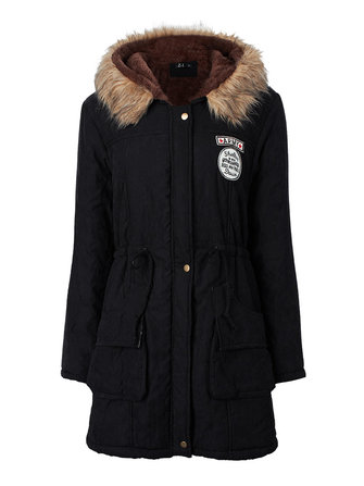 Casual Women Thick Military Drawstring Hooded Fur Coat Parka