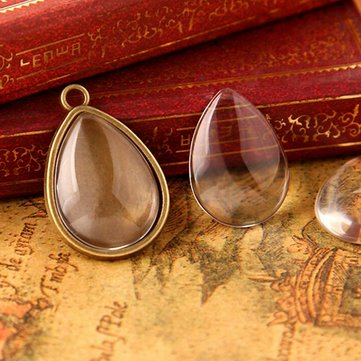 10Pcs Flat Back Dome Clear Glass Cabochon Water Drop Pendants Charm DIY