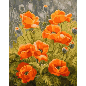 Buy Numbers Kit DIY Painting Oil Painting Frameless Picture Poppy Flower Drawing Wall Decor Gift 40x50cm for $9.99 in Banggood store