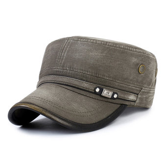 Men Vintage Cotton Plain Washed Cap Cadet Solid Retro Army Flat Baseball Cap Hats