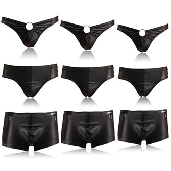 Sexy Black Faux Leather Panties G-string Fashion Casual Thong Trunk Briefs