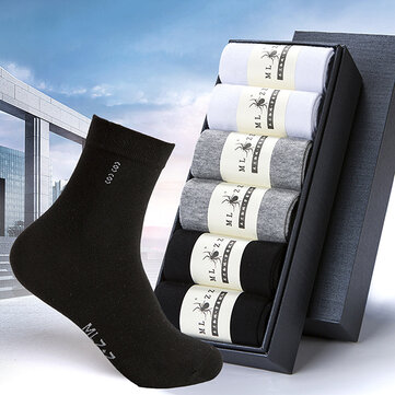 6 Pair Men Cotton Solid Business Long Tube Socks