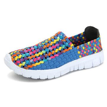 Большой размер женщин летом дышащие кроссовки вязать плоские спортивная обувь красочные обувь