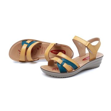Вскользь мягкой подошве кожа клин сандалии пальца ноги щели удобные босоножки на платформе