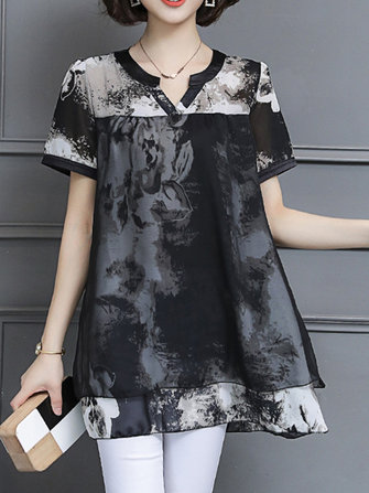 Chiffon Printed V-neck Fake Two Pieces Blouse