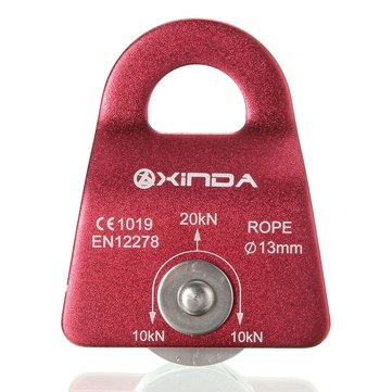 Xinda 20KN Mountain Rock Climbing Mobile Pulley Single Side For 13mm Rope Gear Tool