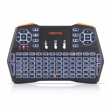 Original  Viboton I8 Plus 2.4G inalámbrico retroiluminado tricolor inglés Mini Teclado Touchpad Airmouse para TV Caja Smart TV PC