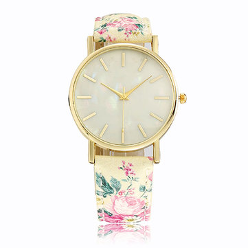 Casual Fashion Flowers Printed PU Leather Band Gold Color Case Women Quartz Watch