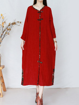 Vintage Women Plate Buckle Folk Style Long Sleeve Dress