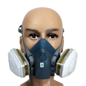 7502 Silicone Half Face Respirator Painting Spraying Face Gas Mask 7 Pcs Set