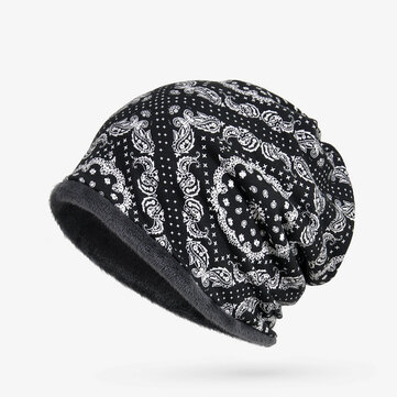 Women Vintage Multifunctional Print Cotton Beanie Hats Scarf Outdoor Fashion Painting Hat