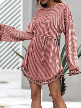 Elegant Women Pure Color Long Sleeve Tassel Patchwork Dress