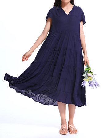 Casual Women Vintage Loose V-Neck Short Sleeve Ruffles Dress