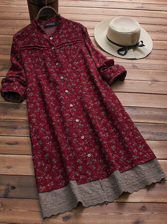 Vintage Long Sleeve Embroidery Floral Print Patchwork Dress