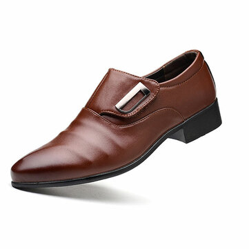 Men Hook Loop Pointed Toe Leather Formal Shoes Business Shoes