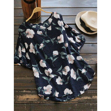 Casual Women Cotton Floral Printed Blouse
