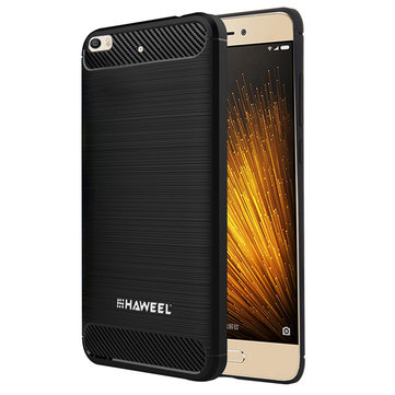 HAWEEL Carbon Fiber Anti-Scratch Slicone Protective Back Cover Case For Xiaomi Mi 5s Mi5s