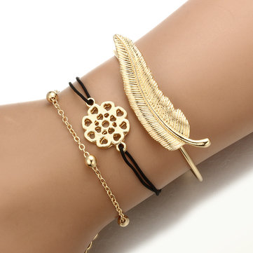 3Pcs Trendy Bracelet Sets Feather Heart Gold Bangle Open-end Charming Bracelets for Women