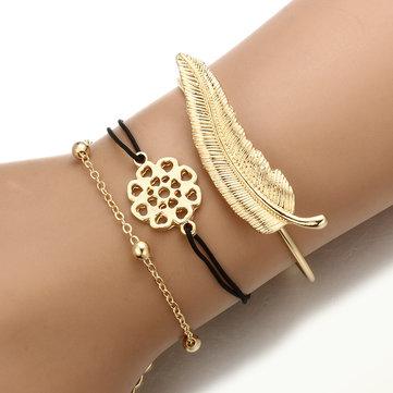 3Pcs Trendy Bracelet Sets Feather Heart Gold Bangle