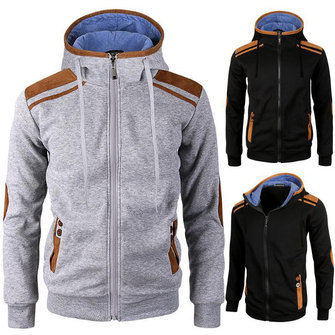 Men's Fashion Solid Color Hooded Sweater Casual Zipper Deerskin Stitching Sport Hoodies