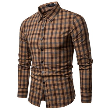 Mens Business Plaid Shirts