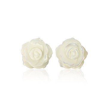 925 Silver Needle Shell Rose Flower Ear Stud Earrings Women Jewelry