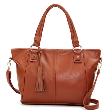 Women PU Leather Casual Tassels Handbag Crossbody Bag