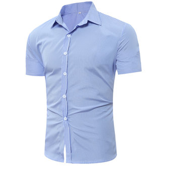 Mens Business Fashion Stripe Printing Summer Casual Shirts